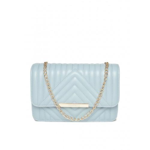 DressBerry Blue Polyurethane Quilted Sling Bag