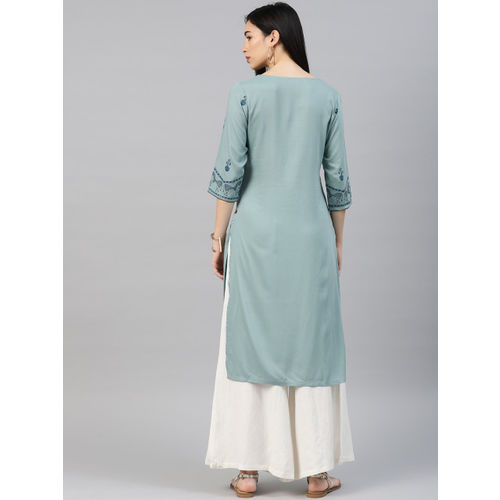 Alena Women Blue Printed Straight Kurta
