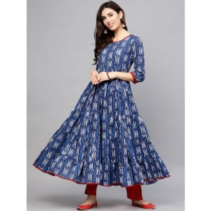 AKS Women Blue & White Printed Anarkali Kurta