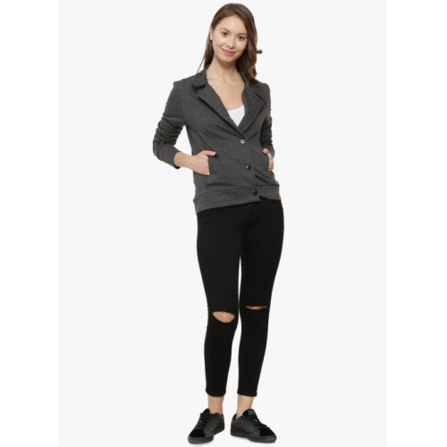 Campus Sutra Charcoal Self Design Winter Jacket