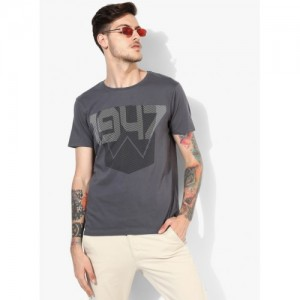 Wrangler Grey Cotton Printed Regular Fit Round Neck T-Shirt