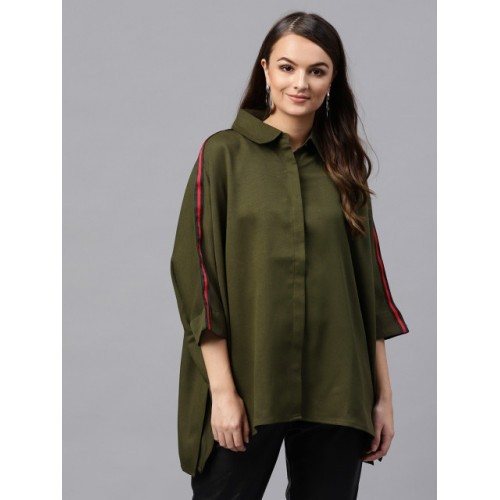 SASSAFRAS Olive Green Solid Casual Boxy Shirt