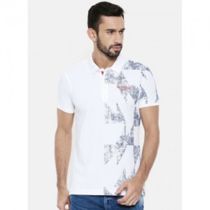 SPYKAR White Cotton Geometric Printed Polo T-Shirt
