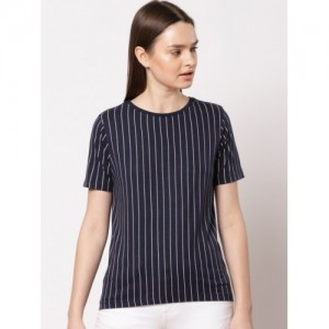 ether Women Navy Blue Striped Round Neck T-shirt