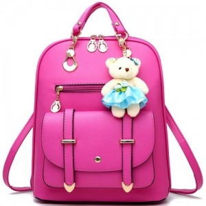 Alice Premium Pink Leather Solid Backpack