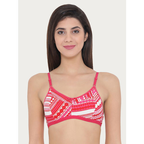 Clovia Pink & Red Printed Non-Wired Non Padded Everyday Bra BR1642P1440C