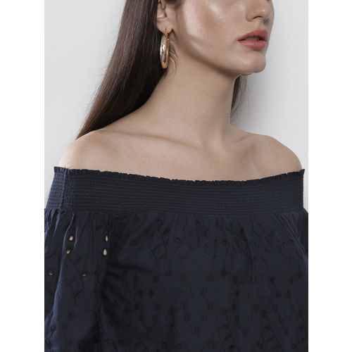 DOROTHY PERKINS Women Navy Blue Self Design Bardot Top
