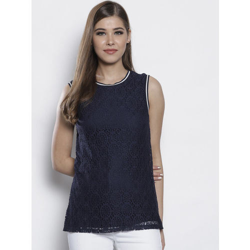DOROTHY PERKINS Women Navy Blue Lace Top
