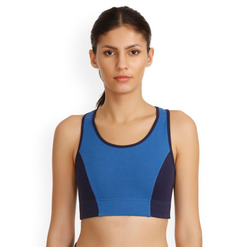 d2aa783e8e Buy Zelocity Blue Solid Non-Wired Non Padded Sports Bra online ...