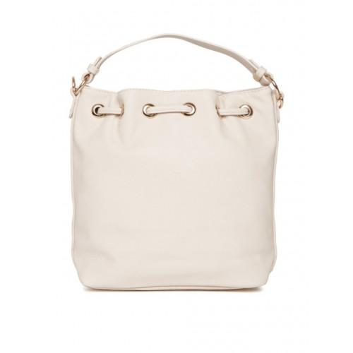 DressBerry Off-White Polyurethane Solid Sling Bag