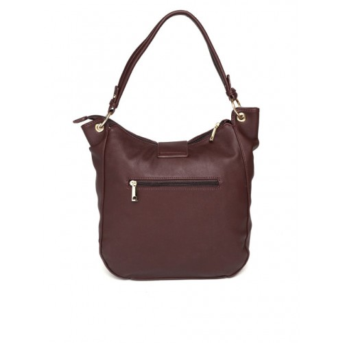 DressBerry Burgundy Polyurethane Solid Hobo Bag