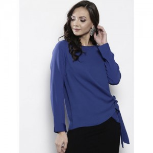 DOROTHY PERKINS Women Blue Solid Wrap Top