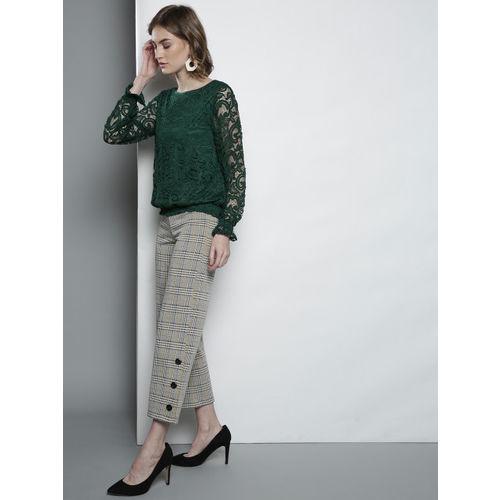 DOROTHY PERKINS Women Green Lace Blouson Top