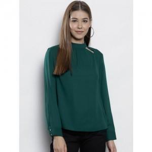 DOROTHY PERKINS Women Green Solid A-Line Top