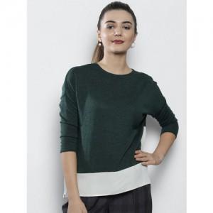 DOROTHY PERKINS Women Green & White Colourblocked Top