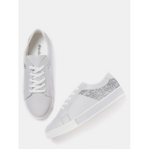 DressBerry Grey Synthetic Lace Up Sneakers