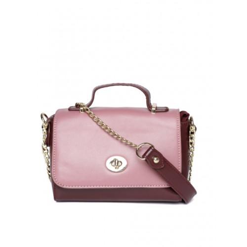 DressBerry Pink & Burgundy Colourblocked Satchel Bag