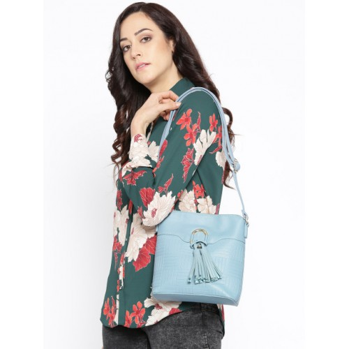 DressBerry Blue Synthetic Textured Sling Bag