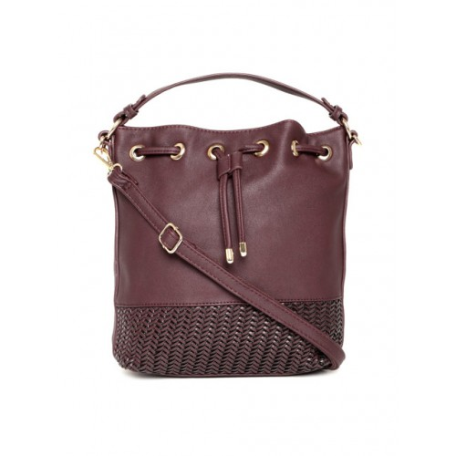 DressBerry Burgundy Solid Hobo Bag with Sling Strap