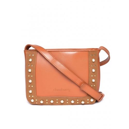 DressBerry Brown Synthetic Embellished Sling Bag