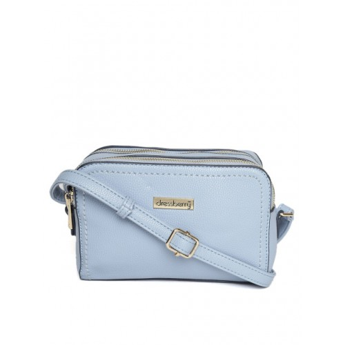 DressBerry Blue Synthetic Solid Sling Bag