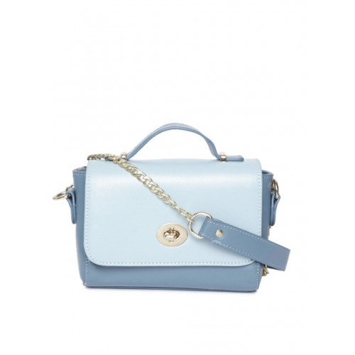 DressBerry Blue Synthetic Colourblocked Satchel