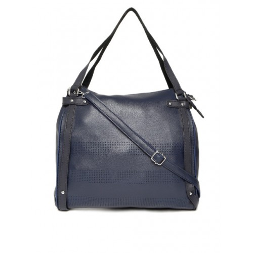 DressBerry Navy Textured Shoulder Bag with Sling Strap