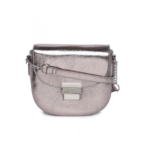 DressBerry Gunmetal-Toned Polyurethane Solid Sling Bag