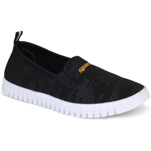 Sparx Black PVC Loafers For Women