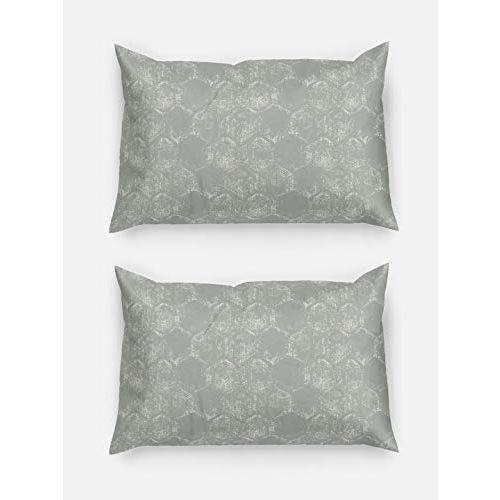 D'Decor 136TC Cotton Double Bedsheet with 2 Pillow Covers - Queen Size, Geometric, Grey