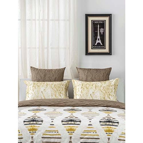 D'Decor 144TC Cotton Double Bedsheet with 2 Pillow Covers - Queen Size, Ethnic, Yellow