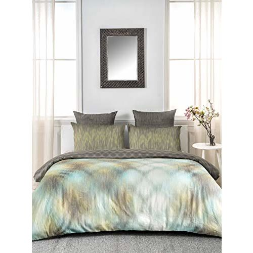 D'Decor 180TC Cotton Double Bedsheet with 2 Pillow Covers - King Size, Abstract, Green