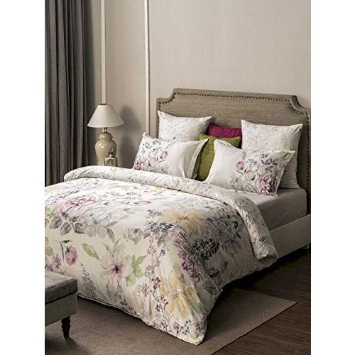 D'Decor 600TC Cotton Double Bedsheet with 4 Pillow Covers - King Size, Floral, Pink