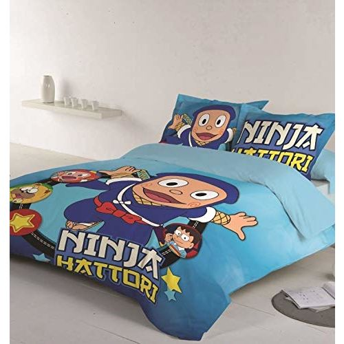 D'Decor 210TC Cotton Kids Single Bedsheet with 1 Pillow Cover - Single, Ninja Hattori, Blue