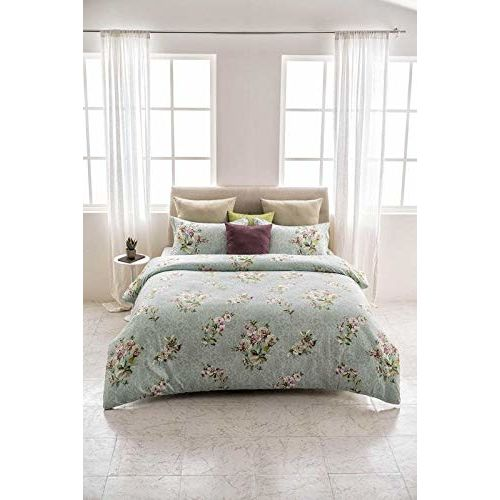 D'Decor 400TC Cotton Double Bedsheet with 2 Pillow Covers - King Size, Floral, Green