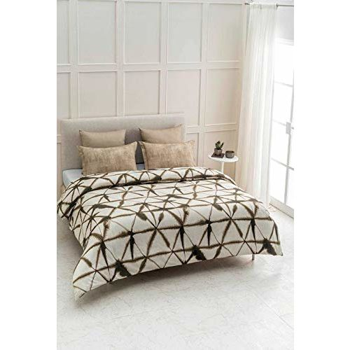 D'Decor 150TC Cotton Double Bedsheet with 2 Pillow Covers - King Size, Geometric, Yellow