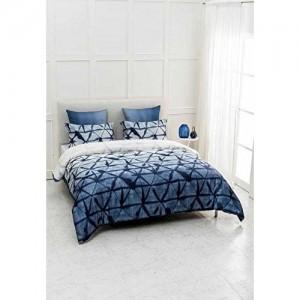 D'Decor 300TC Cotton Double Bedsheet with 2 Pillow Covers - King Size, Geometric, Blue