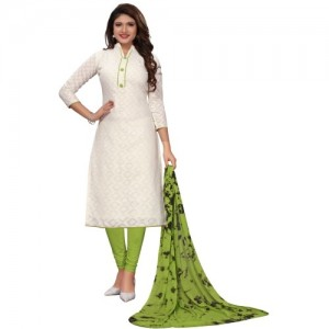 SENSE OF STYLE White & Green Cotton Salwar Suit Dupatta Material