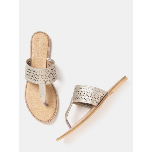 DressBerry Silver Synthetic Cut-Out T-Strap Flats