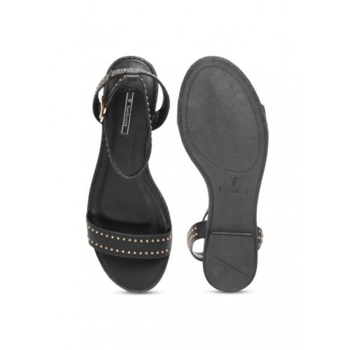fe1a63bf67 Buy Van Heusen Black Synthetic Solid Open Toe Flats online