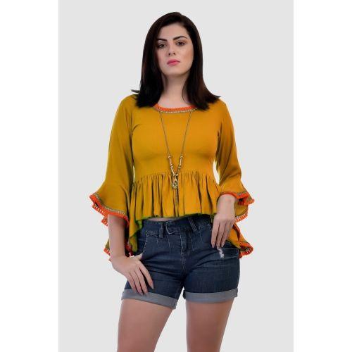 77cbd10cd3234 Buy VAANYA Casual Bell Sleeve Solid Women s Yellow Top online ...