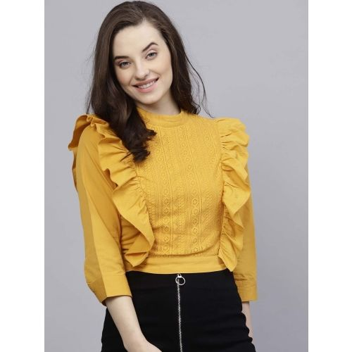 Street 9 Casual Full Sleeve Solid Women's Yellow Top