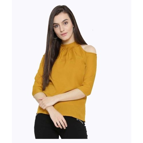 AHMA International Casual Cold Shoulder Solid Women's Yellow Top