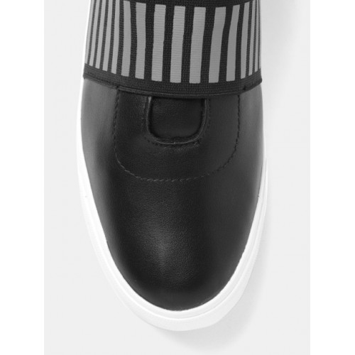 Roadster Black Synthetic Slip-On Sneakers