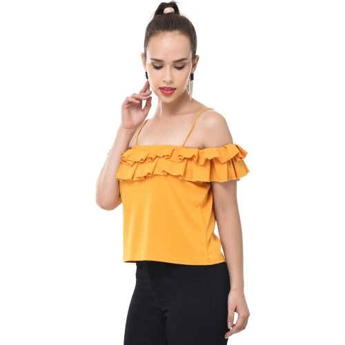 BuyNewTrend Casual Noodle Strap Solid Women's Yellow Top