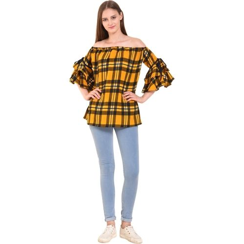 Kittu's Casual Cutout Sleeve Checkered Women's Yellow Top