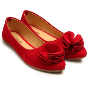 Tryfeet Red Pointed Toe Synthetic Leather Bellies
