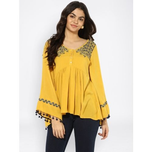 Taurus Casual Full Sleeve Solid Women's Yellow Top