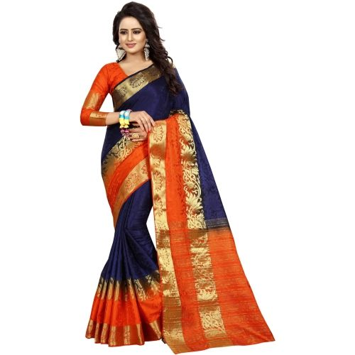 Saarah Navy Blue Woven Kanjivaram Art Silk Saree