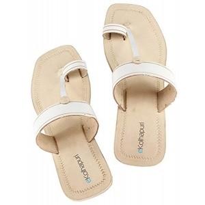 eKolhapuriWhite Color High Heel Ladies Leather Sandal